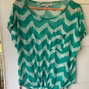 French laundry sheer short sleeve top size XL